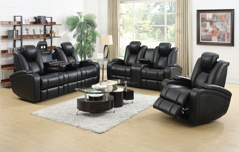 Zimmerman Black Faux Leather Power Motion Two Piece Living