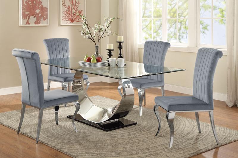 Manessier Contemporary Grey And Chrome Five Piece Dining Set
