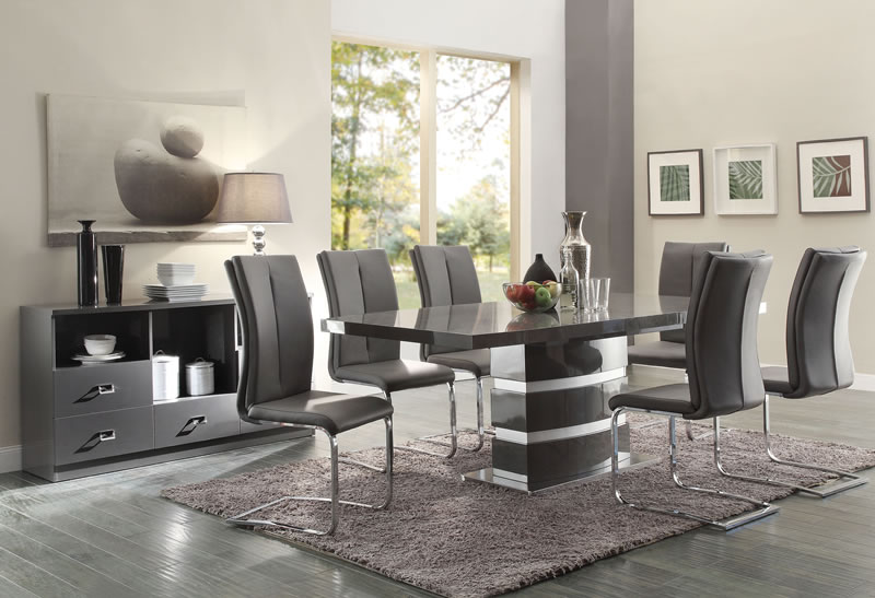 Manessier Contemporary Grey And Chrome Five Piece Dining Set