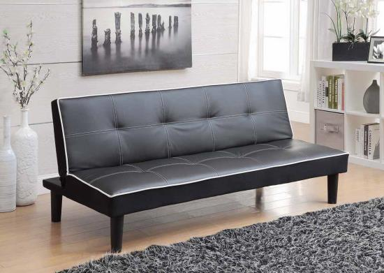 Contemporary Black faux-leather sofa Bed -